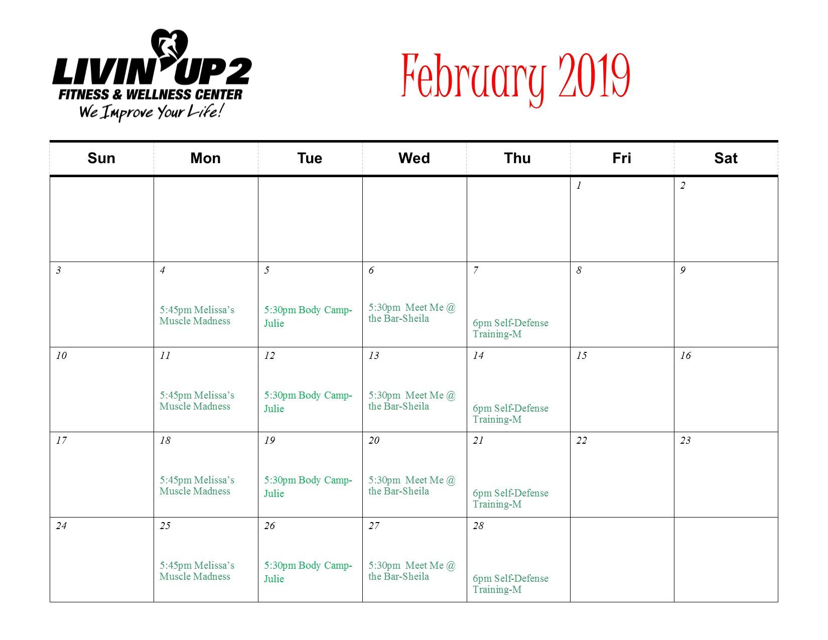 February 2019 GF Schedule