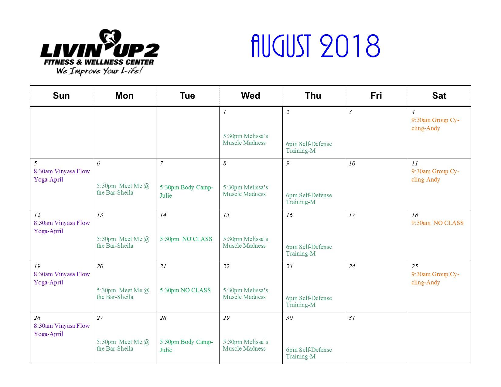 GF Schedule August 2018