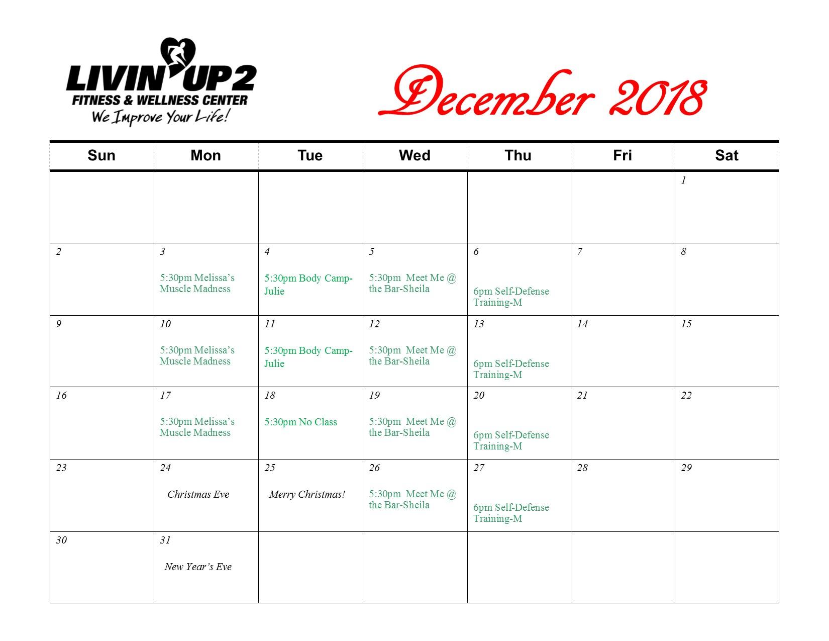 GF Schedule December 2018
