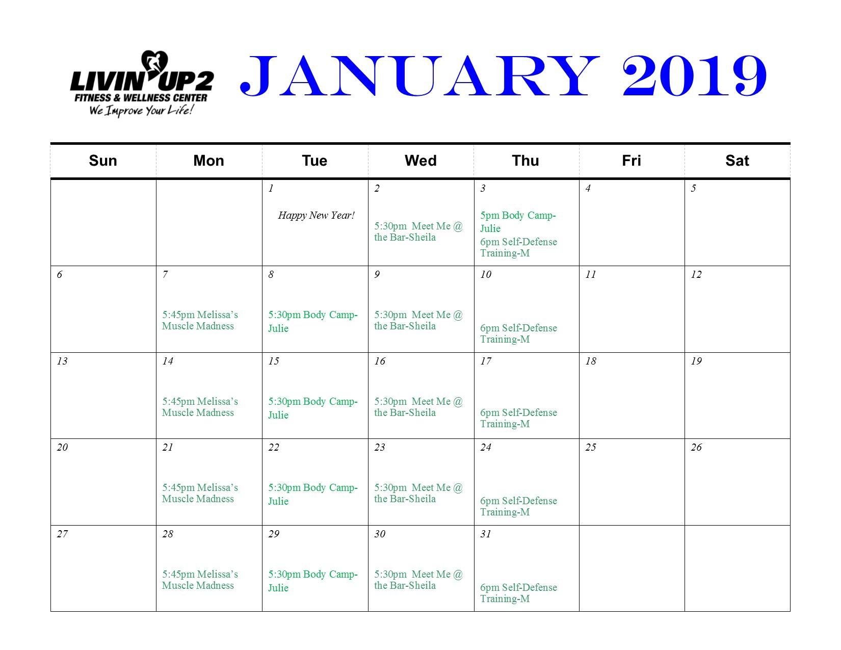 January 2019 GF Schedule