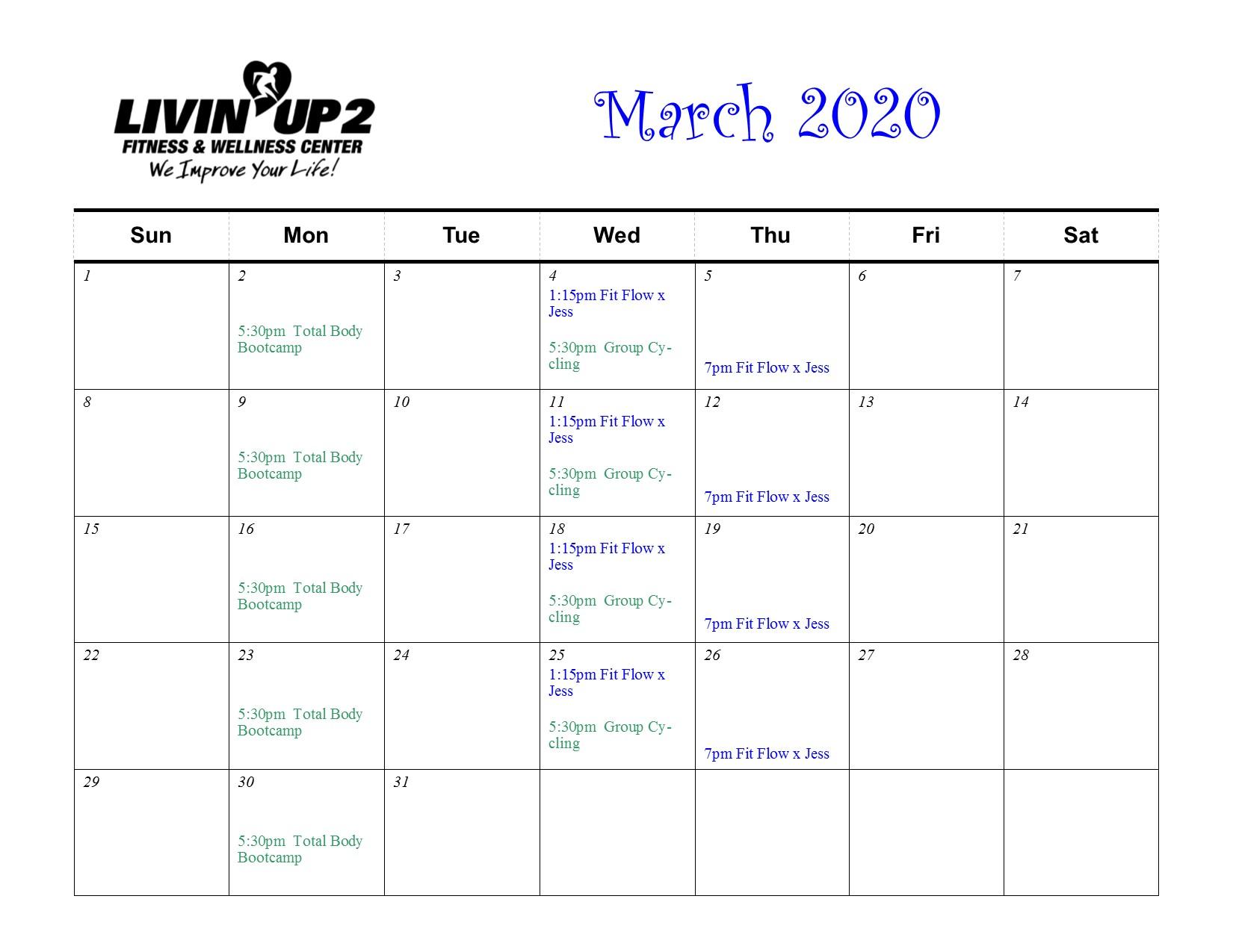 March 2020 GF Schedule