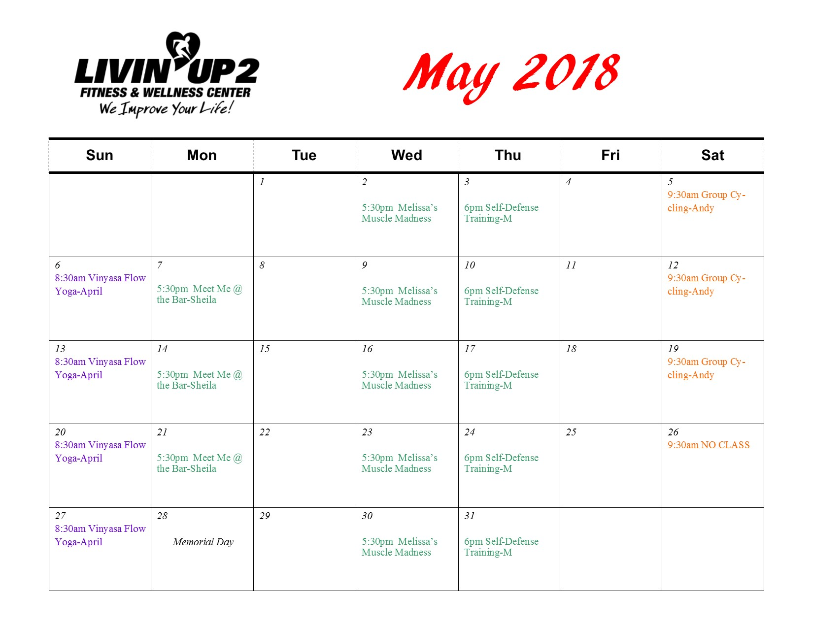 May 2018 GF Schedule